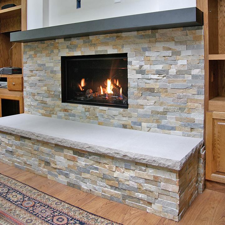 stone work and fireplace insert near lake geneva wi