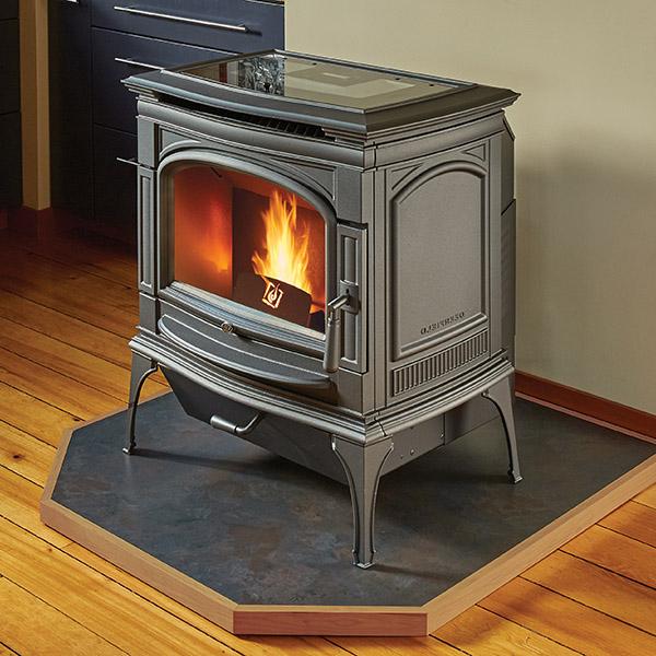 pellet burning stove installation in Burlington WI